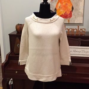 White + warren relaxed fit boat neck sweater